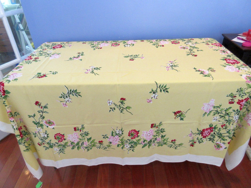 Pink Miniature Roses on Chartreuse Lime Floral Vintage Printed Tablecloth (50 X 47)