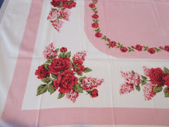 Roses Lilacs on Pink Simtex Cutter? Floral Vintage Printed Tablecloth (52 X 48)