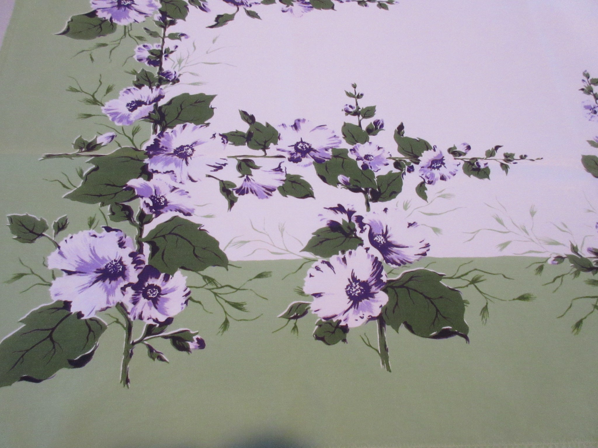 HTF CHP Purple Hollyhocks on Green Floral Vintage Printed Tablecloth (51 X 44)