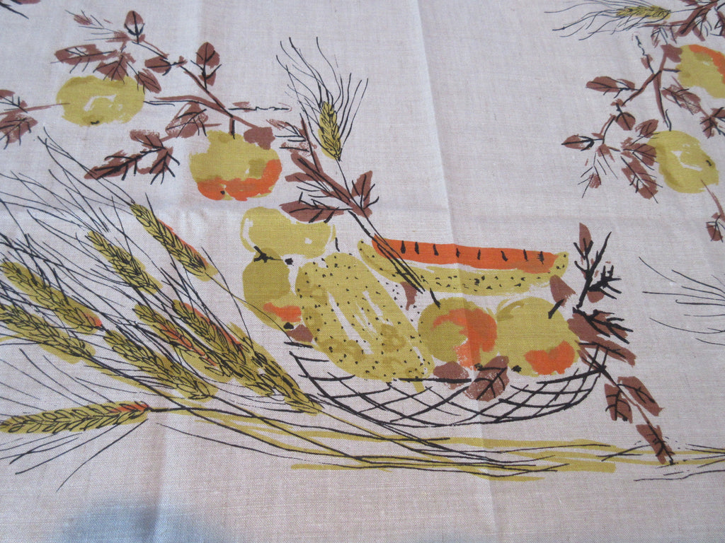 VERA Unwashed Pears Wheat on Tan Linen Fruit Vintage Printed Tablecloth (52 X 51)