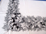 Silver Gray Black Acanthus Leaves Holiday Vintage Printed Tablecloth (65 X 54)