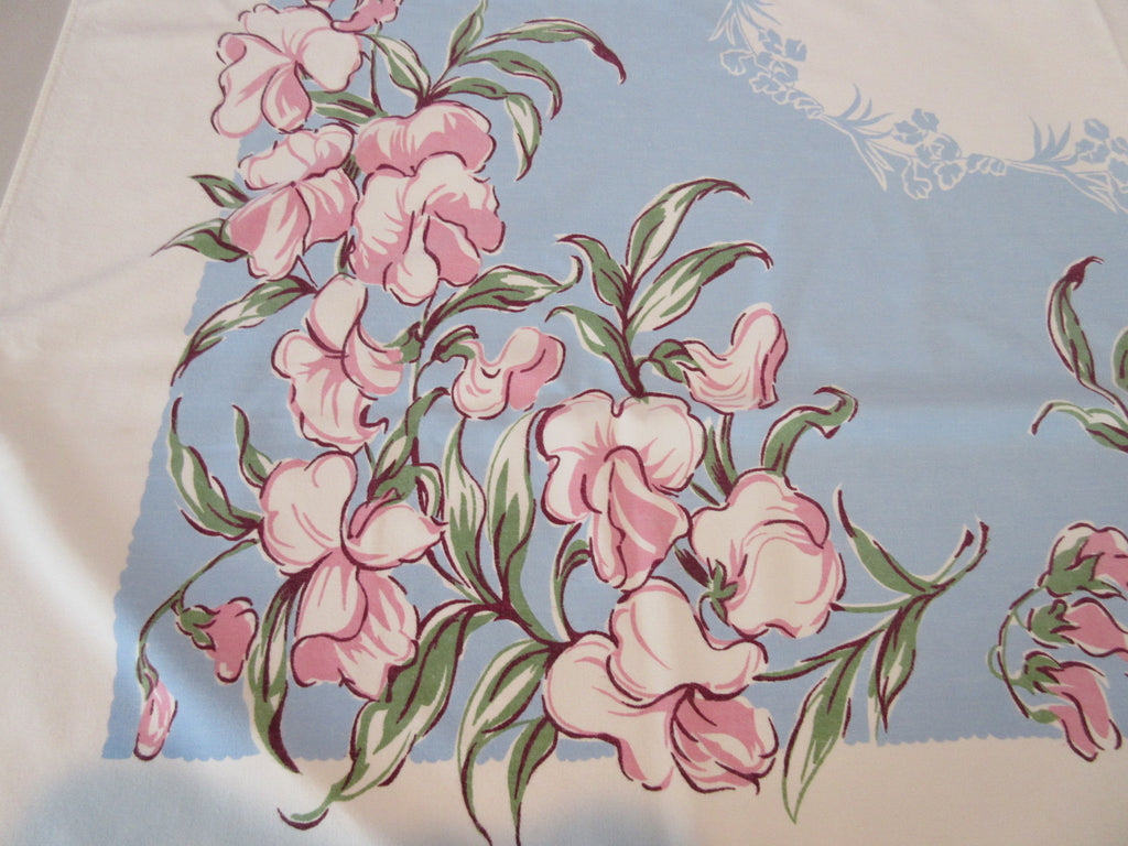 Giant Pink Sweet Peas on Blue Floral Vintage Printed Tablecloth (56 X 51)