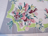 Unwashed Pastel Hyacinths on Gray Napkins Floral Vintage Printed Tablecloth (68 X 51)