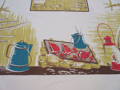HTF CHP Cowboy Campfire on TAN Novelty Vintage Printed Tablecloth (54 X 50)
