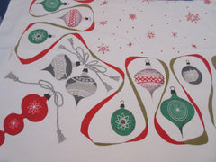 HTF de Antonio IMPERFECT Pastel Ornaments Pink Winter Christmas Vintage Printed Tablecloth (81 X 61)