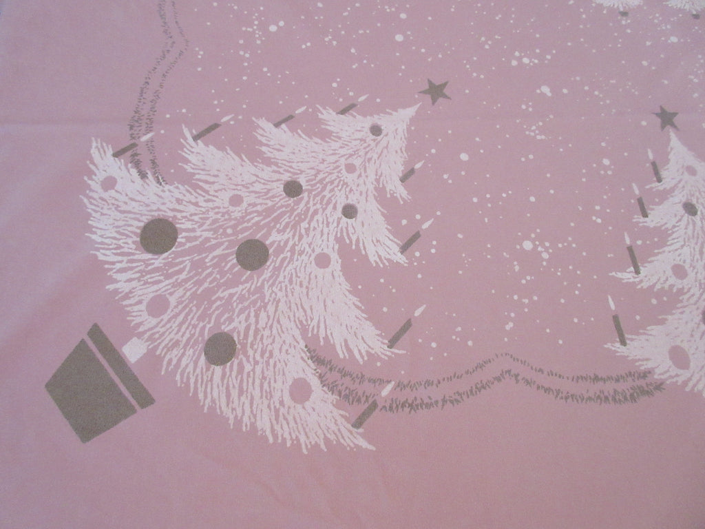 Giant Pink CHP Golden Trees Banquet Imperfect Winter Christmas Vintage Printed Tablecloth (102 X 60)