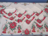 HTF Startex Primary Poinsettia Bells Napkins Winter Christmas Vintage Printed Tablecloth