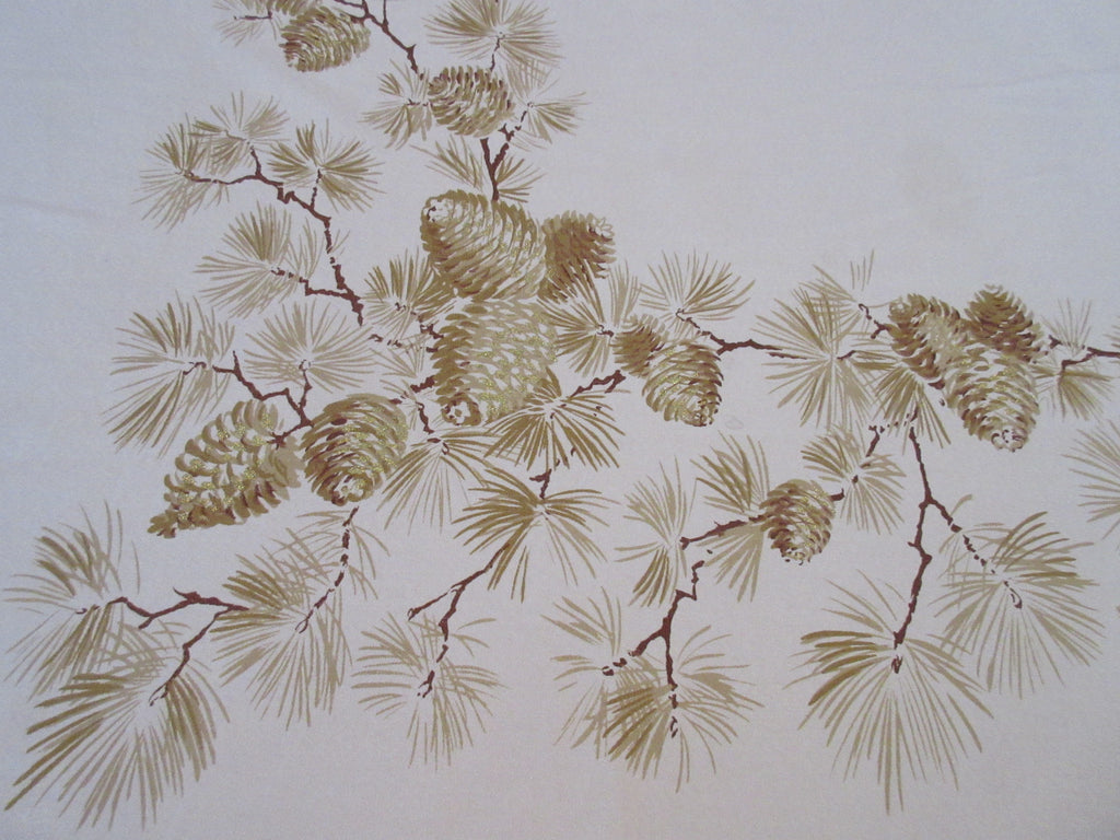 CHP Golden Pine Cones on Tan Winter Christmas Vintage Printed Tablecloth (73 X 60)