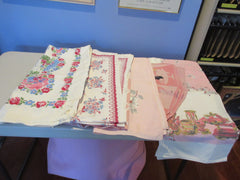 Pink Florals Cutter Lot K i4085 a1277 a0933 Vintage Printed Tablecloth