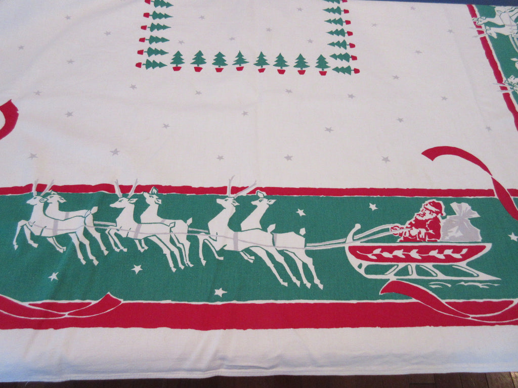 Startex Flying Santa Sleigh Christmas Vintage Printed Tablecloth (64 X 54)