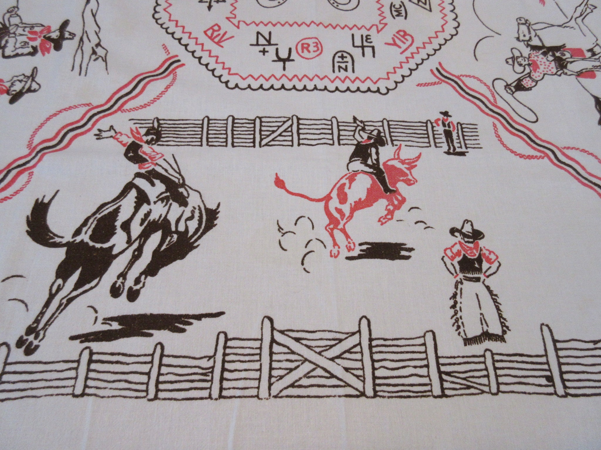 HTF Cowboy Ranch Horses Cactus Cloth Vintage Printed Tablecloth (48 X 45)