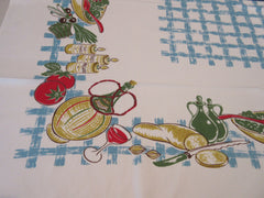 HTF Calaprint Italian Dinner Chianti Blue Plaid Novelty Vintage Printed Tablecloth (52 X 46)