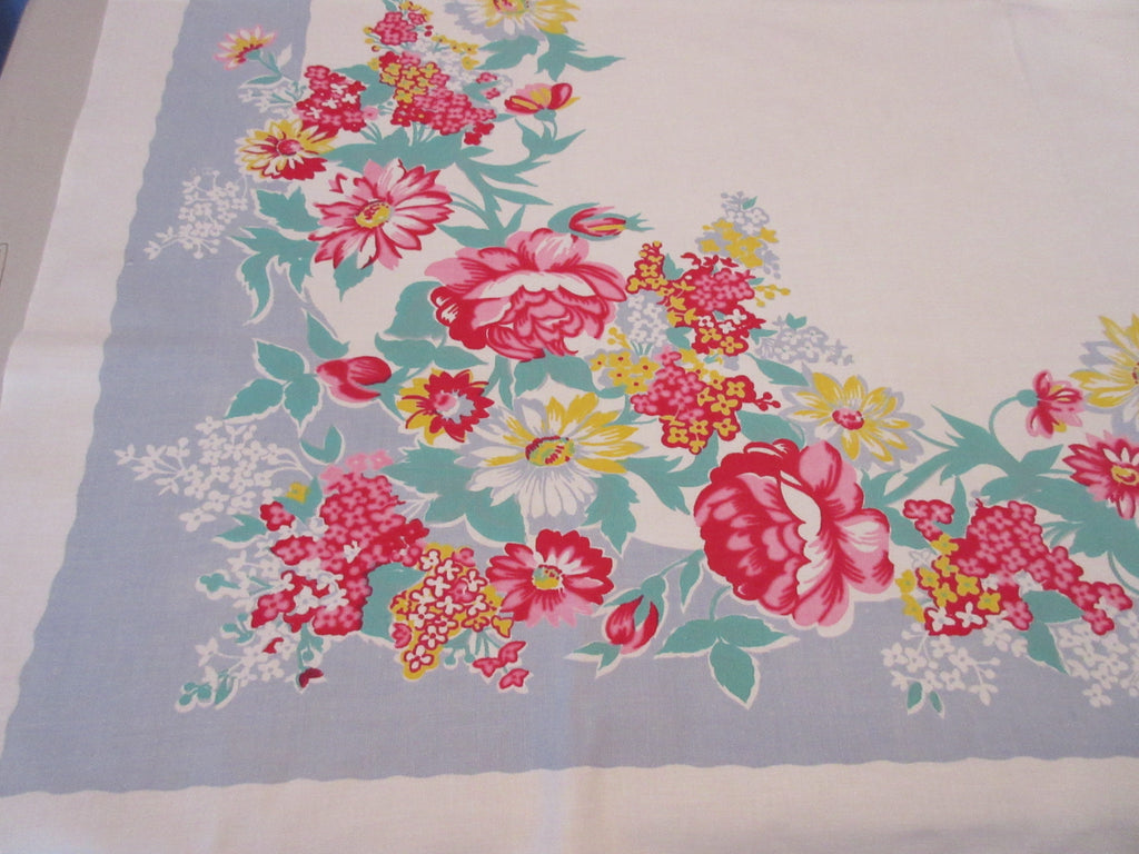 Pink Yellow Green Peonies on Gray Floral Vintage Printed Tablecloth (52 X 47)