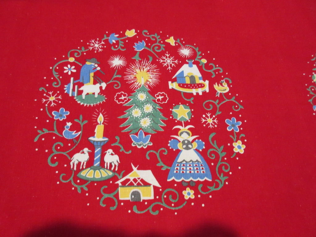 Wilendure PA Dutch Christmas Array on Red Vintage Printed Tablecloth (51 X 50)