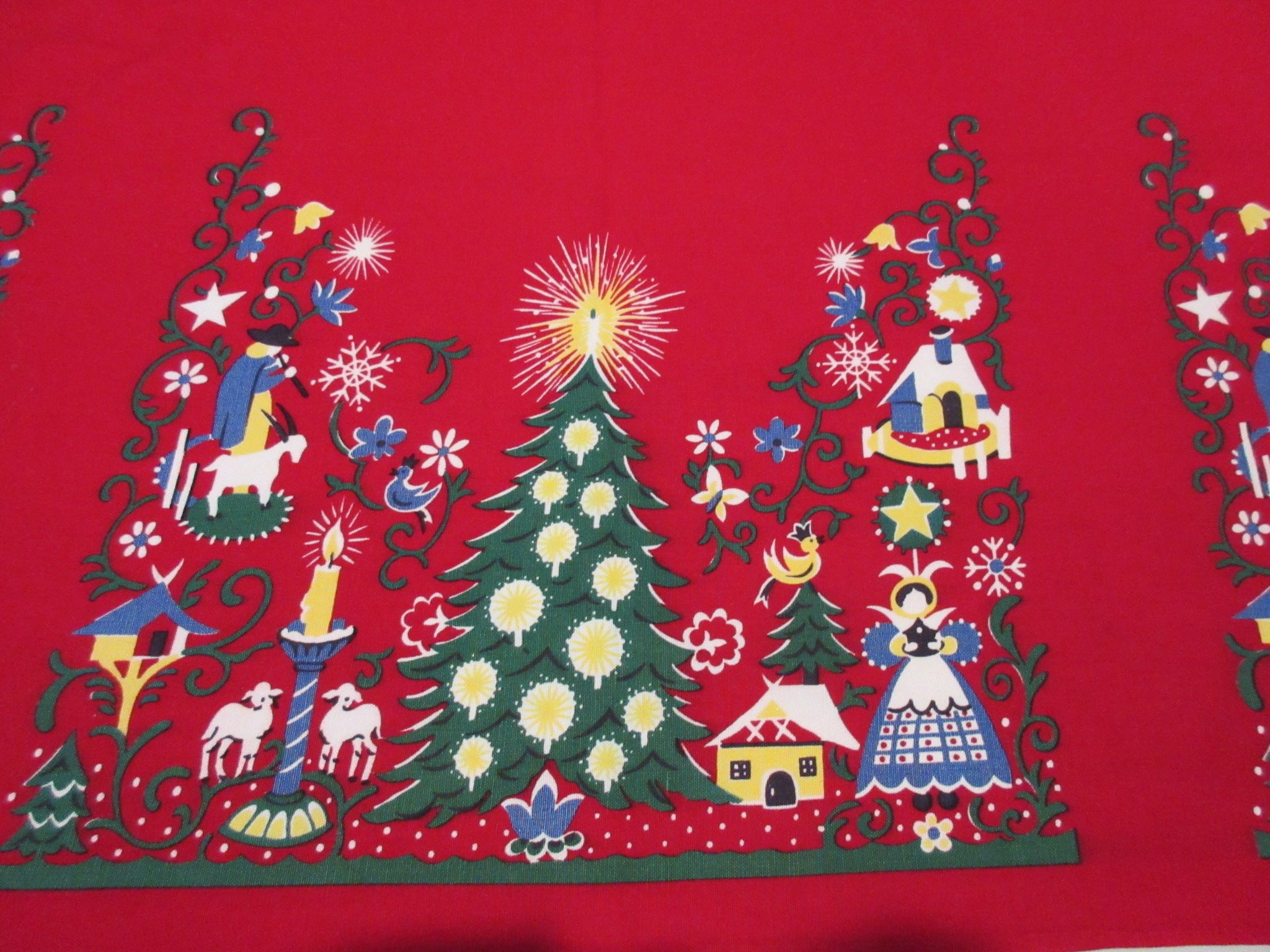 Wilendure PA Dutch Christmas Selvedge on Red Vintage Printed Tablecloth (51 X 50)
