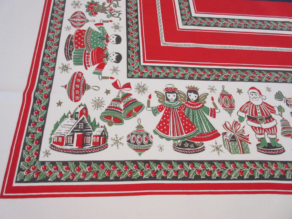 Santa Angels Singing Christmas Vintage Printed Tablecloth (66 X 60)