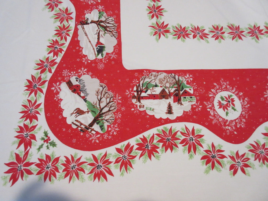 Larger Christmas Vignettes on Red Vintage Printed Tablecloth (68 X 58)