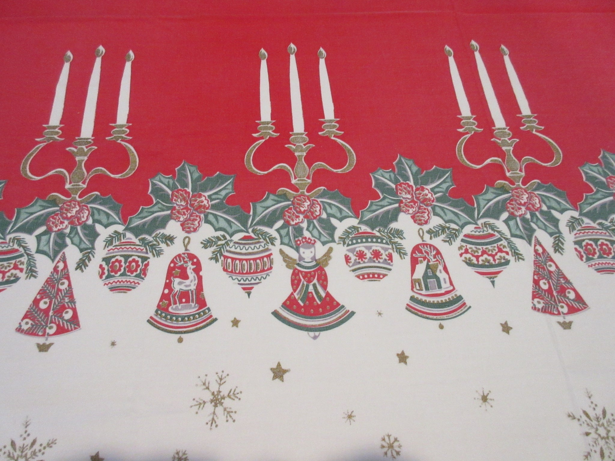 Large Border Print Shabby Christmas Vintage Printed Tablecloth (100 X 59)
