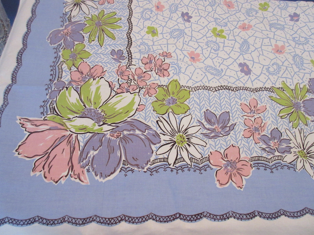 Simtex Pastel Flowers on Blue Floral Vintage Printed Tablecloth (63 X 52)