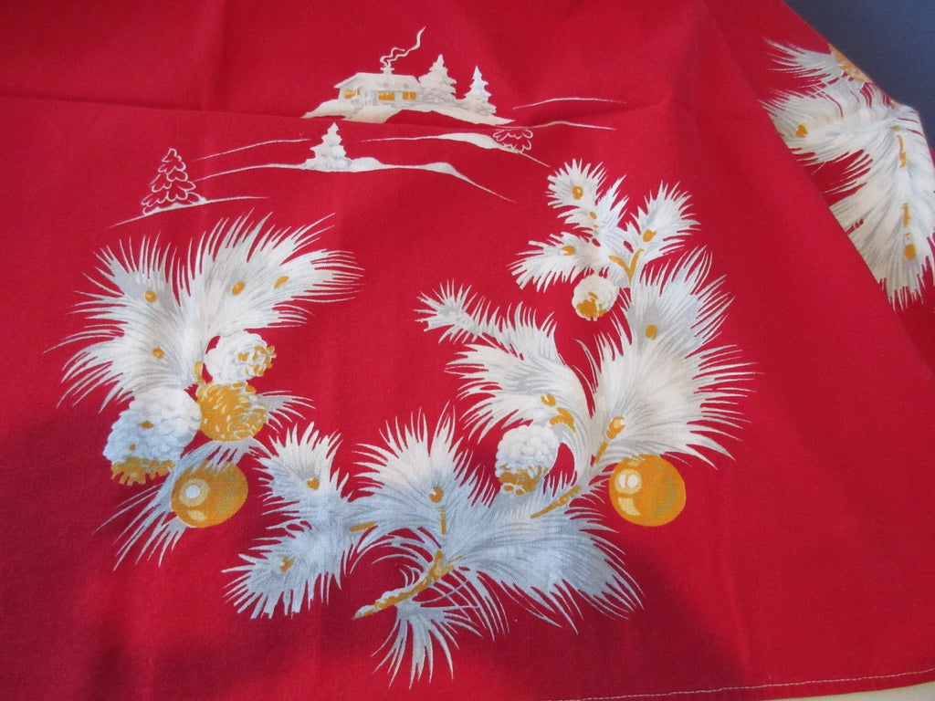 Wilendur Cottage Boughs on Red Winter Christmas Vintage Printed Tablecloth (53 X 49)