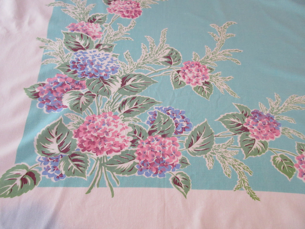 Shabby Pink Hydrangeas on Aqua Floral Vintage Printed Tablecloth (52 X 42)
