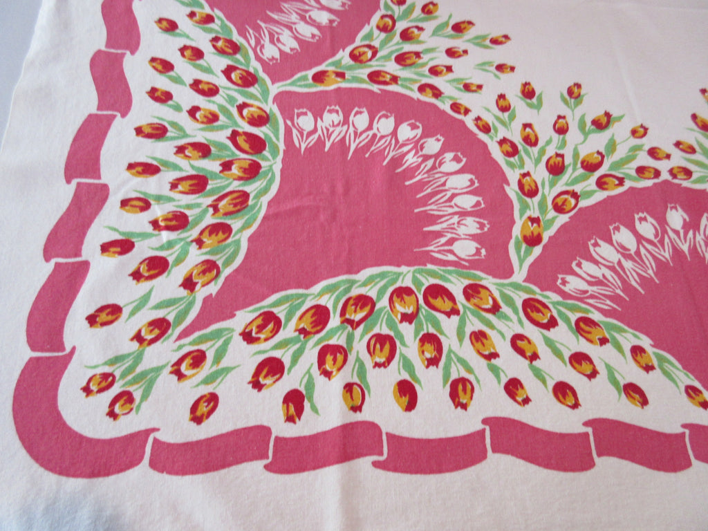 Yellow Red Daffodils on Lipstick Pink Early Floral Vintage Printed Tablecloth (47 X 44)