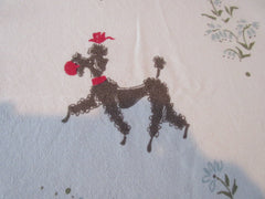 Perky Black Playing Poodles on Pink Novelty Vintage Printed Tablecloth (60 X 53)