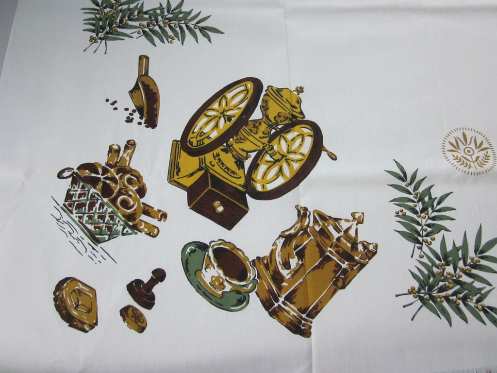 Unwashed Wilendure Coffee Mill Novelty Vintage Printed Tablecloth (53 X 52)