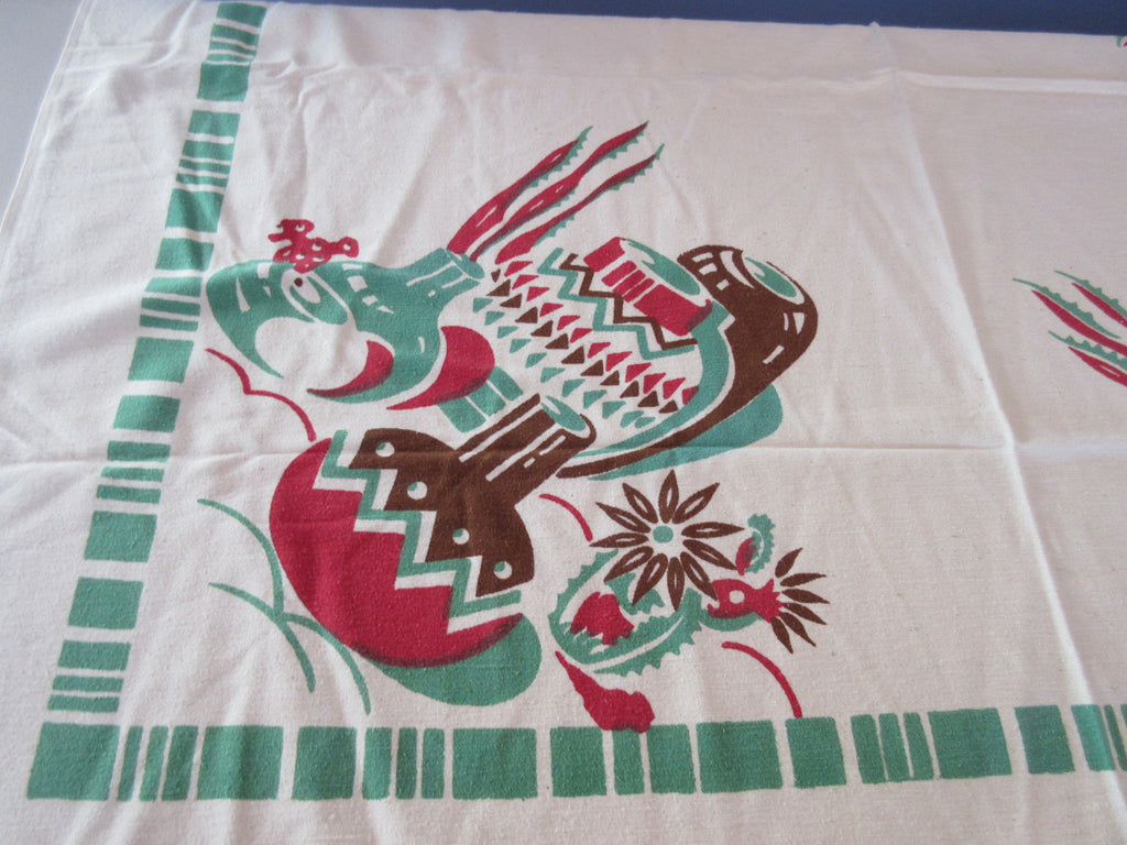 Rustic Green Brown Red Mexican Pots Cactus Novelty Vintage Printed Tablecloth (47 X 46)