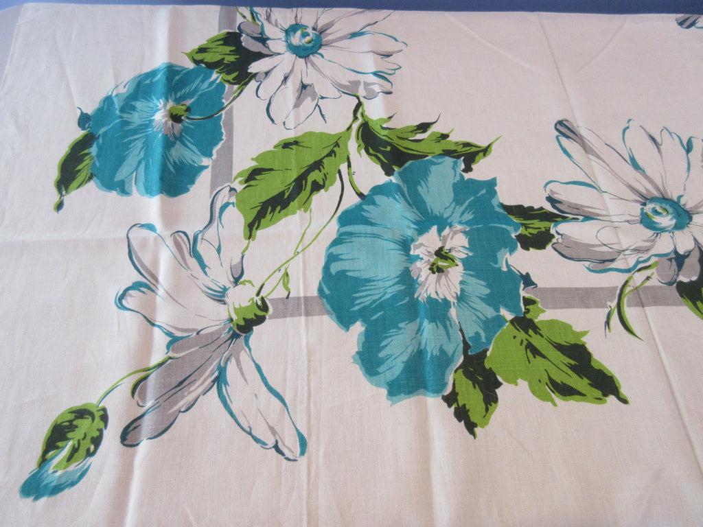 Unwashed Teal Gray Daisies Hibiscus Linen Floral Vintage Printed Tablecloth (52 X 50)