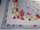 Primary Fruit on Gray Cutter? Vintage Printed Tablecloth (65 X 50)