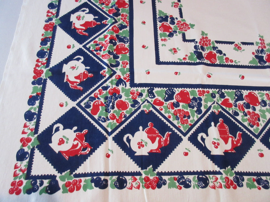 Broderie Red Blue Green Fruit Teapots Coffeepots Novelty Vintage Printed Tablecloth (49 X 46)