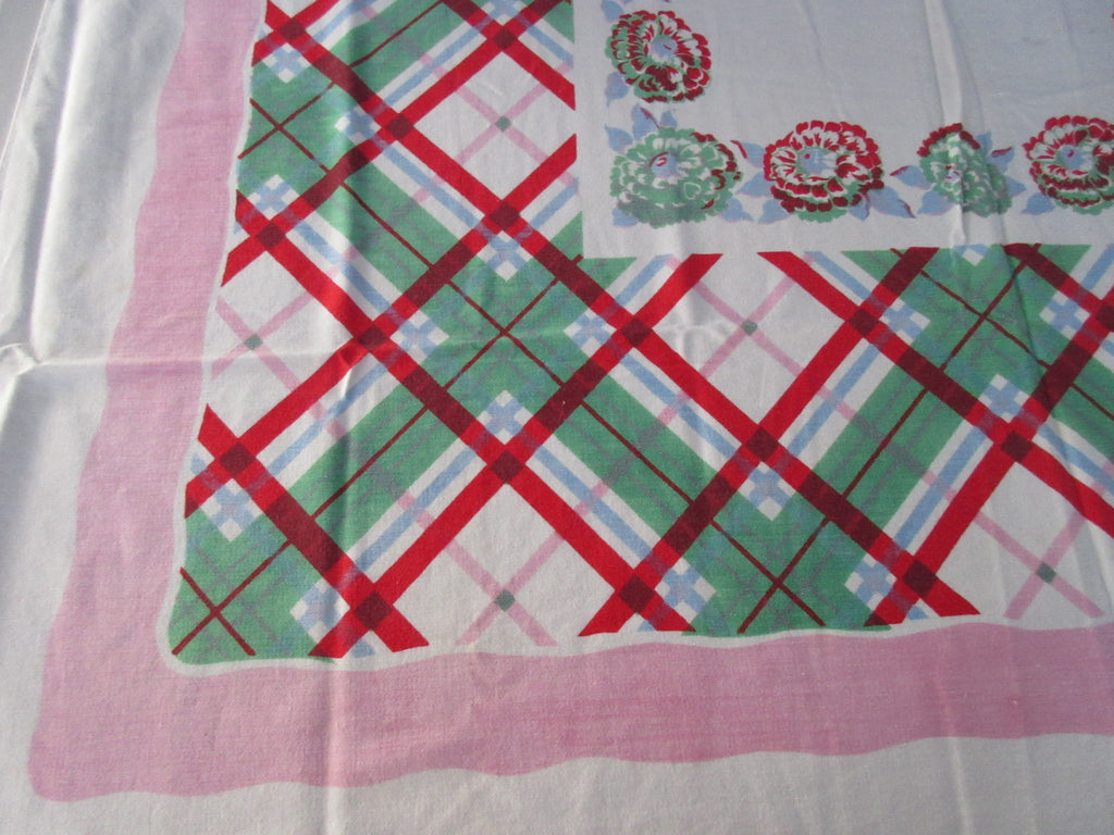Shabby Pink Plaid Zinnias Floral Vintage Printed Tablecloth (46 X 46)