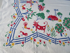 Bright Bold Simtex Funny Farm Novelty Vintage Printed Tablecloth (53 X 50)