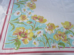 Yellow Spring Floral on Aqua Poppies Daffodils Vintage Printed Tablecloth (51 X 49)