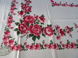 Pink Green Roses Sweet MWT Floral Vintage Printed Tablecloth (65 X 51)
