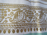 Gold Floral Border on Nile Green Linen MWT Floral Vintage Printed Tablecloth (52 X 50)