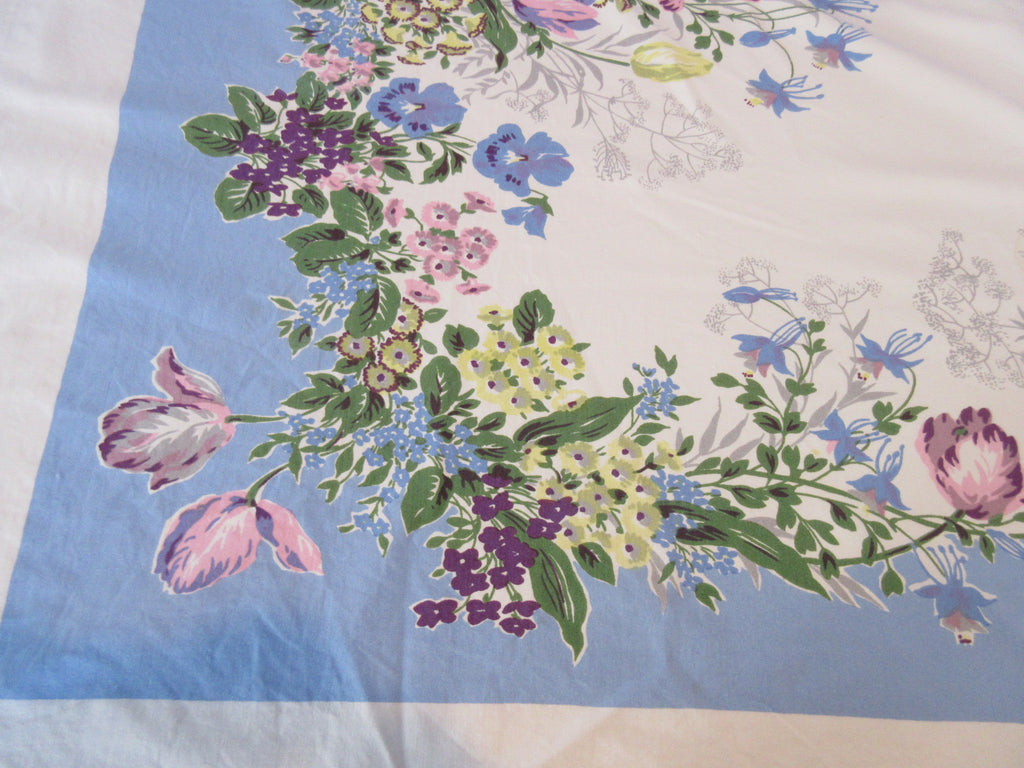 Pastel Pink Yellow Flowers on Blue Floral Vintage Printed Tablecloth (52 X 45)