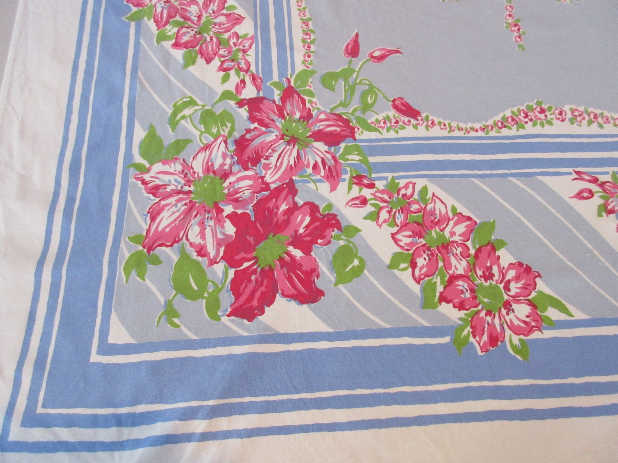 Pink Clematis on Blue Gray Floral Vintage Printed Tablecloth (60 X 51)