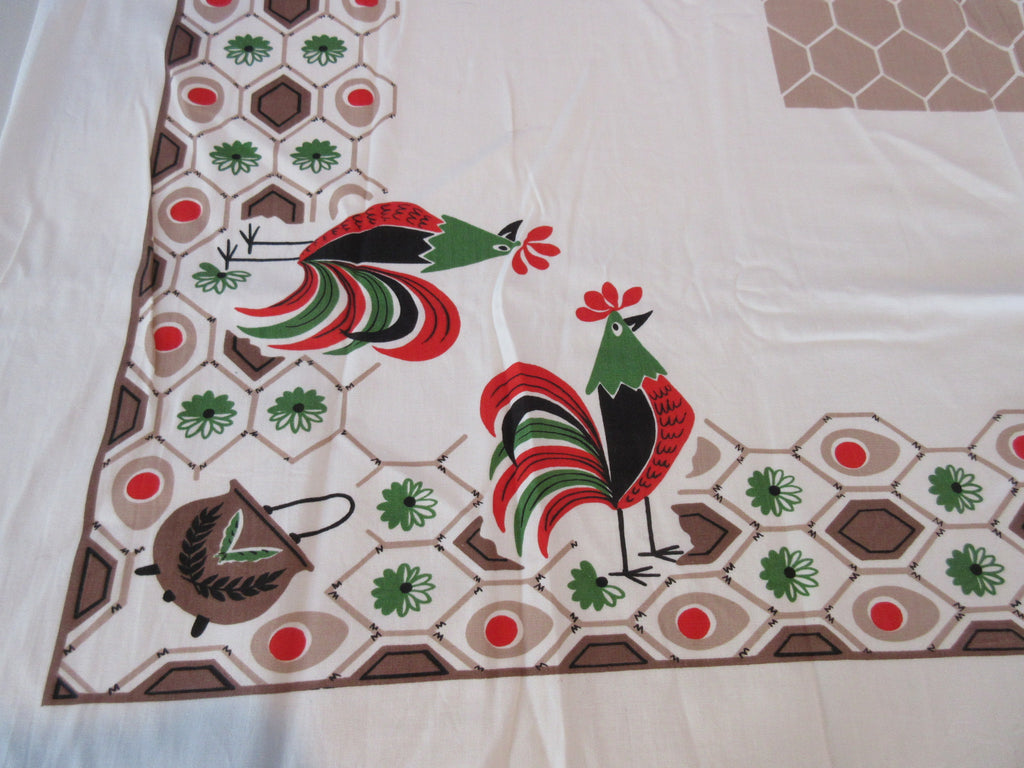 Simtex Chanticleer Comic Roosters Novelty Vintage Printed Tablecloth (51 X 42)