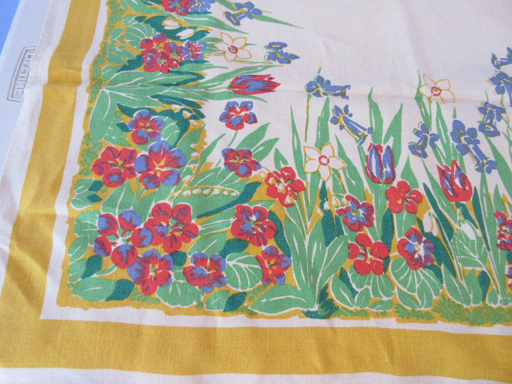 Pride of Flanders Wildflowers on Gold Linen Vintage Printed Tablecloth (68 X 52)