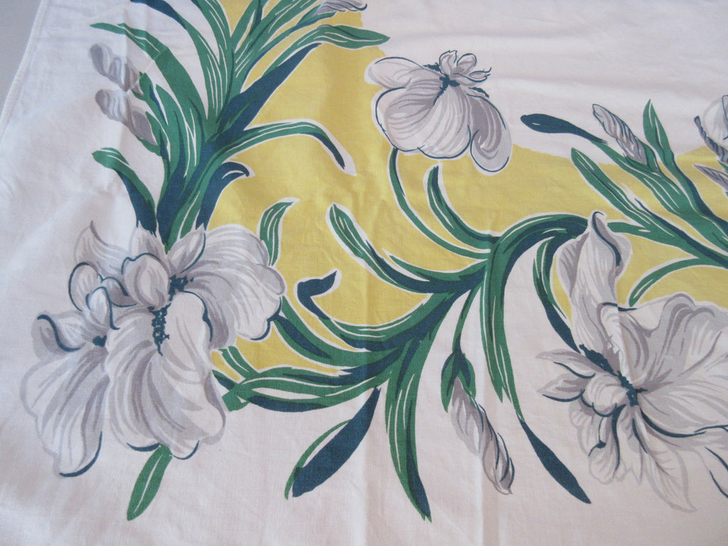 Large Grey Green Iris on Yellow Floral Vintage Printed Tablecloth (62 X 53)