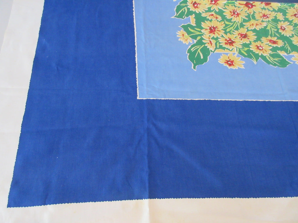 Bold Yellow Daises on Solid Blue Startex Floral Vintage Printed Tablecloth (54 X 47)