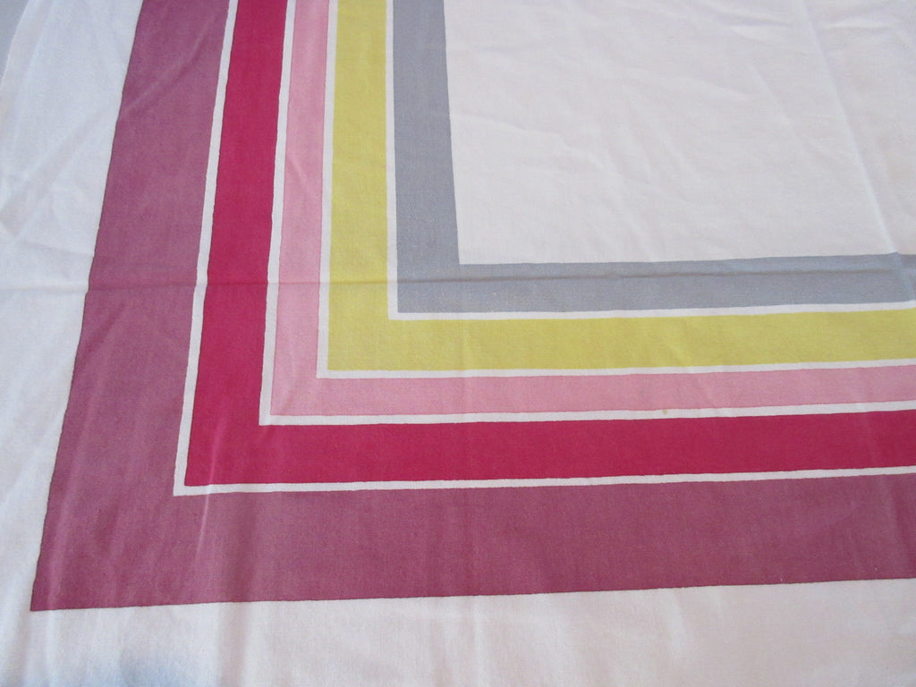 Shabby Startex Stripes Pink Yellow Grey Vintage Printed Tablecloth (48 X 43)