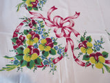 Pansies and Pink Ribbons Floral Vintage Printed Tablecloth (49 X 48)