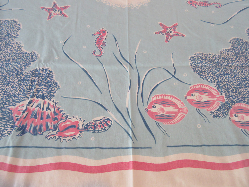 Shabby but Rare Sea Life Fish Coral on Blue Novelty Vintage Printed Tablecloth (51 X 45)