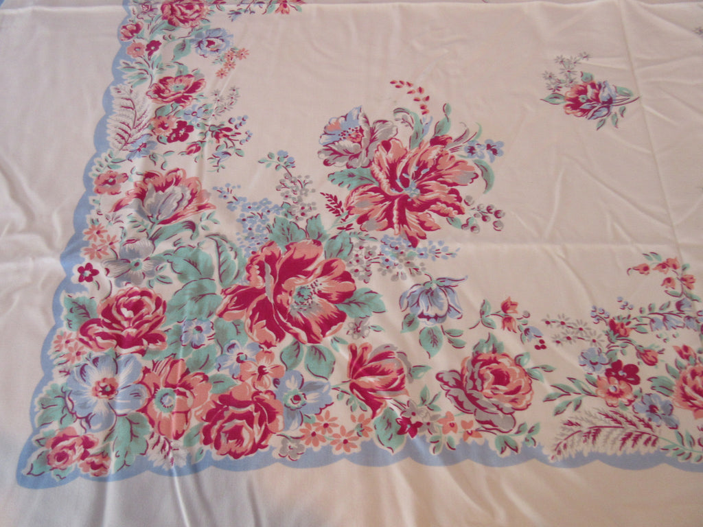 Shabby Coral Roses on Blue CUTTER Floral Vintage Printed Tablecloth (51 X 43)