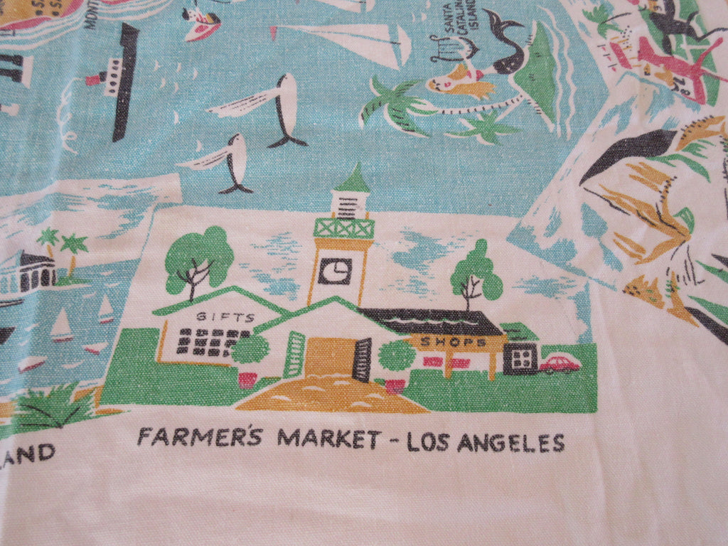 Faded California State Cartoon Pastel Novelty Vintage Printed Tablecloth (37 X 30)