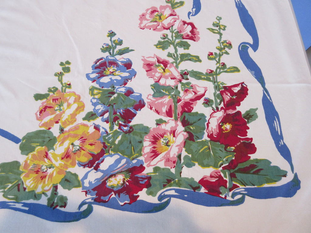 English Garden Hollyhocks Roses Delphiniums Floral Vintage Printed Tablecloth (51 X 46)