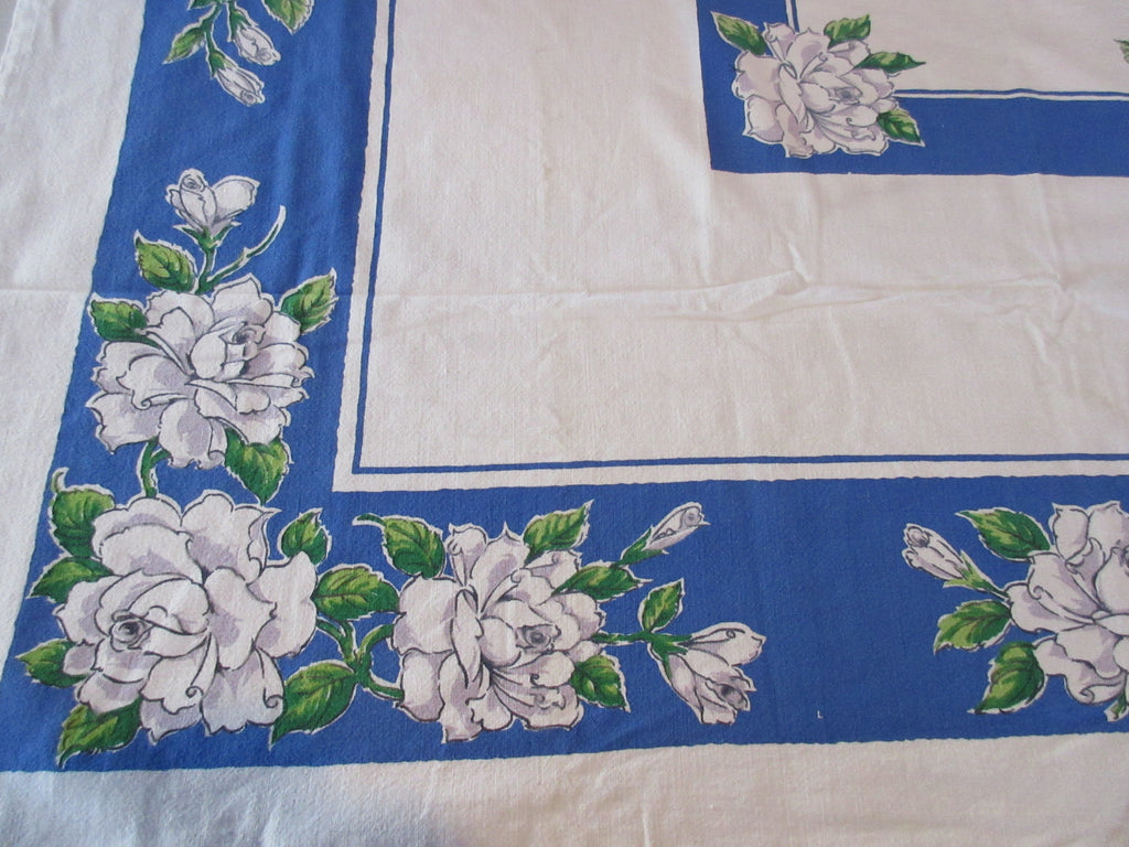 Startex White Green Roses on Blue Floral Vintage Printed Tablecloth